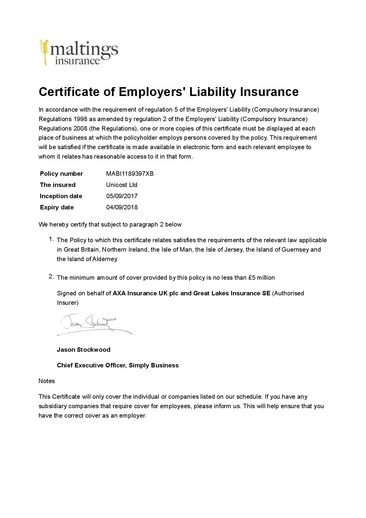 MABI1189397XB-Unicost Ltd-Business-Certificate of el insurance-page-001