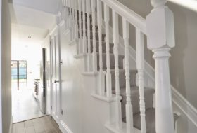 New stairs with railing with big understairs storage